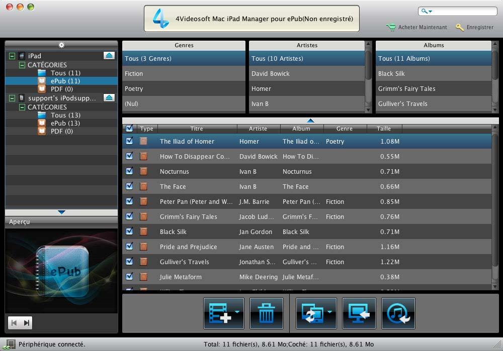 Capture d'écran 4Videosoft Mac iPad Manager pour ePub