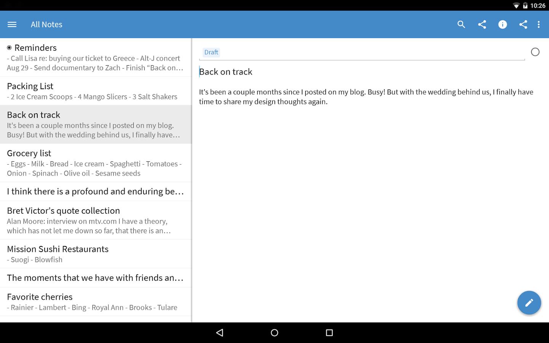 Capture d'écran Simplenote Android