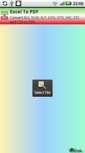 Capture d'écran Excel to PDF no Adds Version