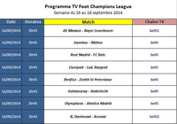 Programme TV Foot Champions League