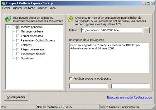 Capture d'écran Compact Outlook Express Backup
