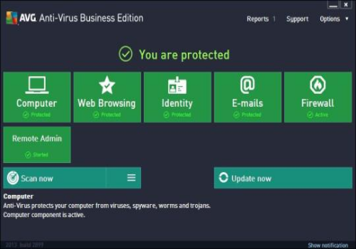 Capture d'écran AVG Antivirus Business Edition 2013