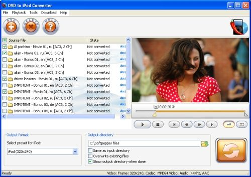 Capture d'écran SoftPepper DVD to iPod Video Suite