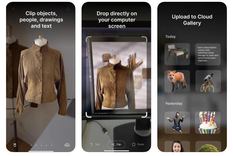Capture d'écran ClipDrop iOS