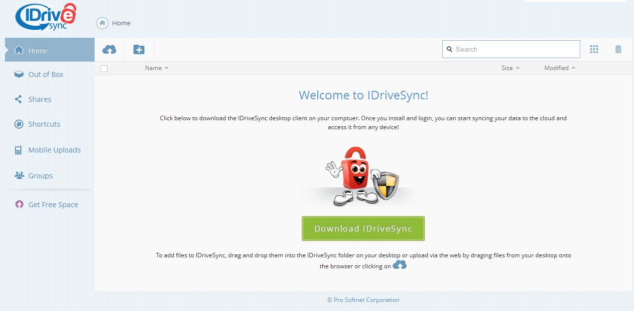 Capture d'écran IDriveSync