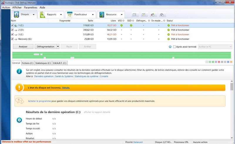 Capture d'écran Auslogics Disk Defrag Ultimate