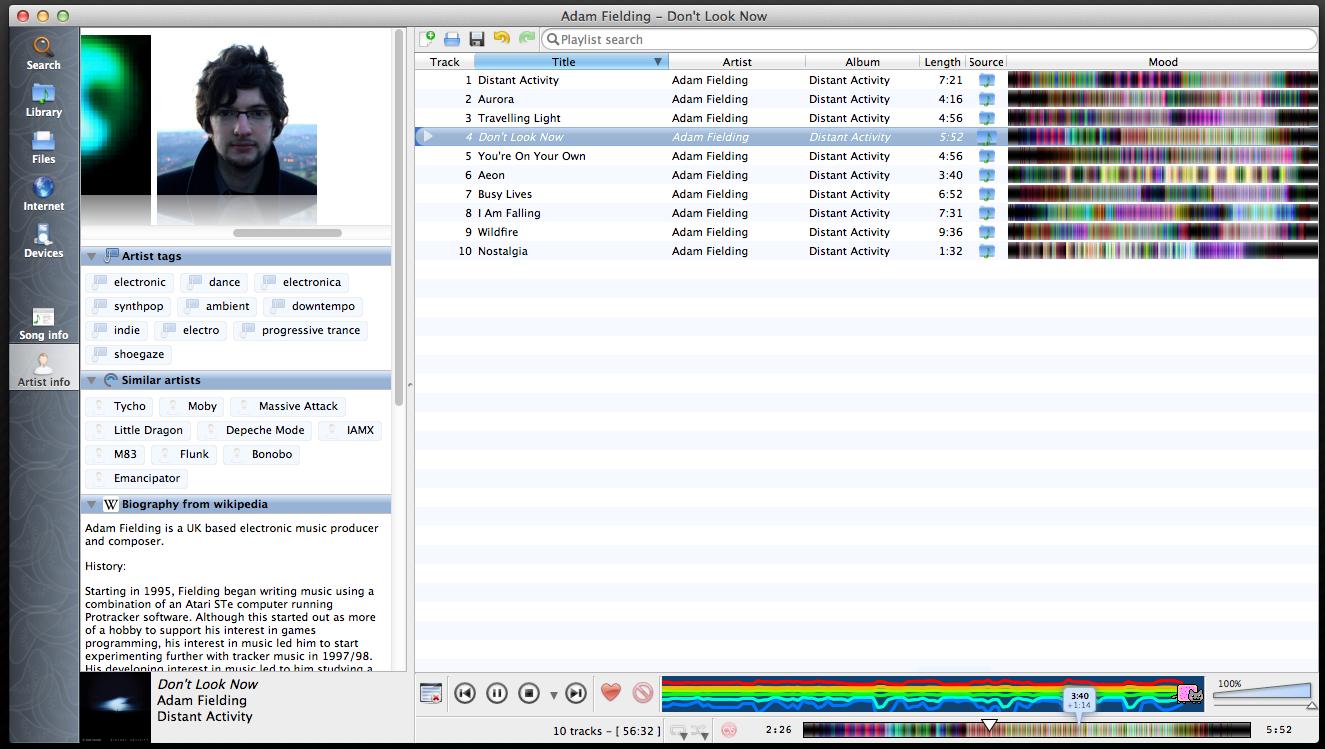 Capture d'écran Clementine Player Mac