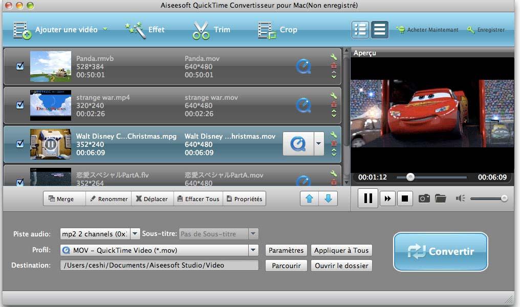 Capture d'écran Aiseesoft QuickTime Convertisseur pour Mac