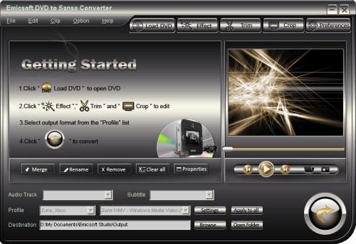 Capture d'écran Emicsoft DVD en Sansa Convertisseur