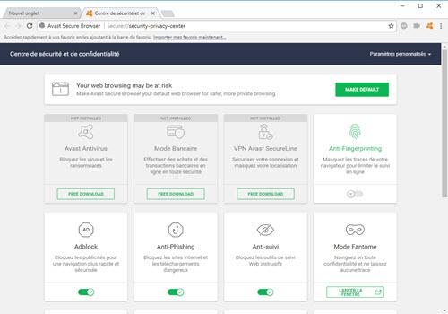 Capture d'écran Avast Secure Browser