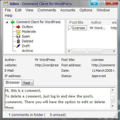 Capture d'écran Comment Client for WordPress