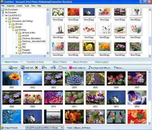 Capture d'écran Socusoft iPod Photo Slideshow