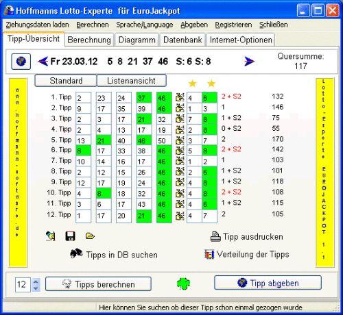 Capture d'écran Hoffmanns Lotto-Experte EuroJackpot