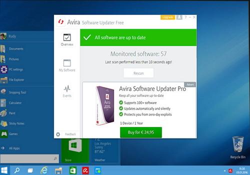 Capture d'écran Avira Software Updater Pro