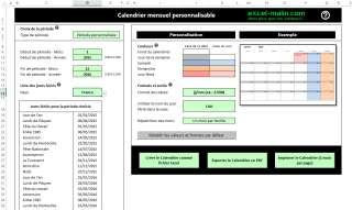 Capture d'écran Générateur des Calendriers mensuels