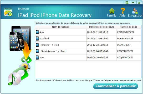 Capture d'écran iPubsoft iPad iPod iPhone Data Recovery