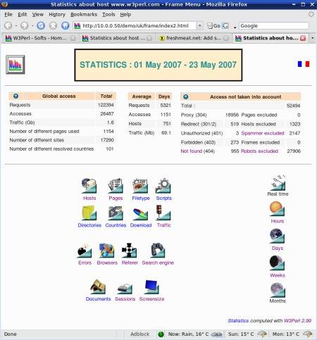 Capture d'écran W3Perl (Windows)
