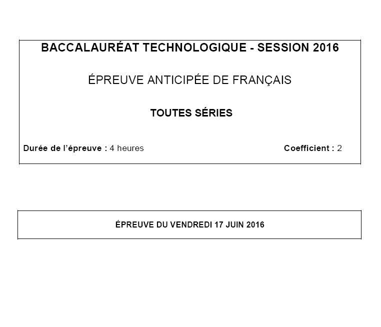Capture d'écran Sujet Bac 2016 Français Séries Technologiques