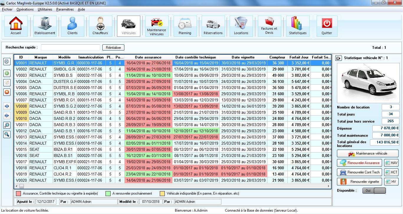 Capture d'écran Carloc Europe-Maghreb V3 – Logiciel location de véhicules