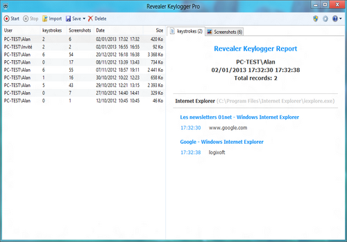 Capture d'écran Revealer Keylogger Free Edition
