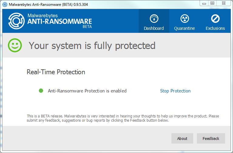 Capture d'écran Malwarebytes Anti-Ransomware