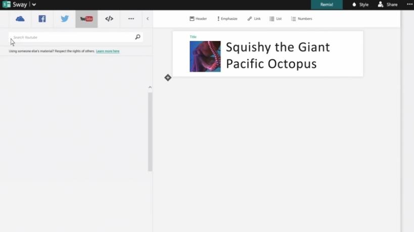 Capture d'écran Sway (Microsoft Office)