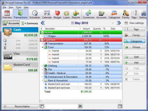 Capture d'écran Personal Finances