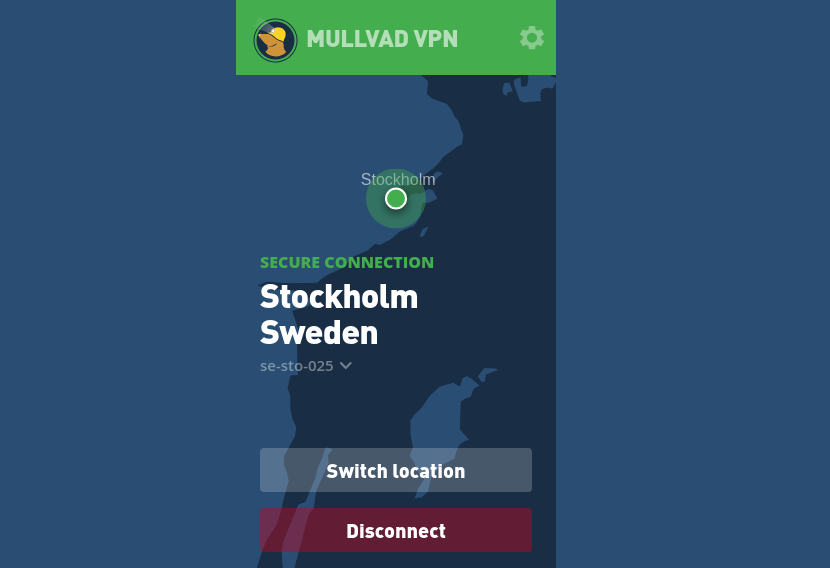 Capture d'écran Mullvad VPN Android