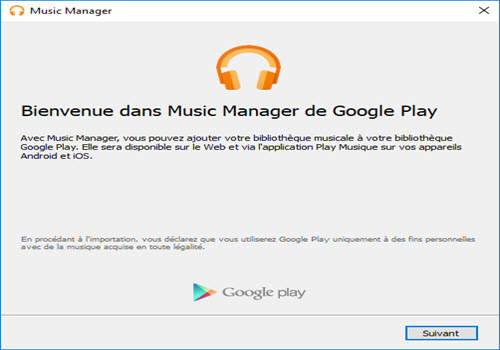 Capture d'écran Google Play Music Manager