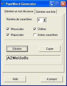 Capture d'écran Parotys PassWord Generator (PPWG)