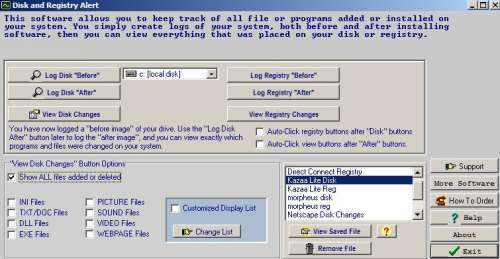 Capture d'écran Disk and Registry Uninstaller