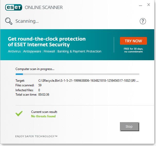 Capture d'écran ESET Online Scanner