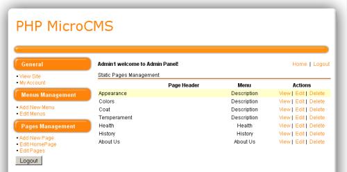 Capture d'écran PHP MicroCMS