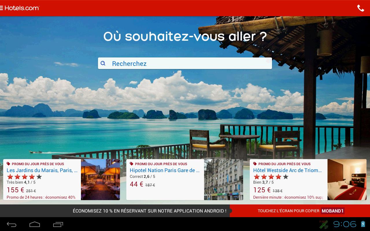 Capture d'écran Hotels.com Android