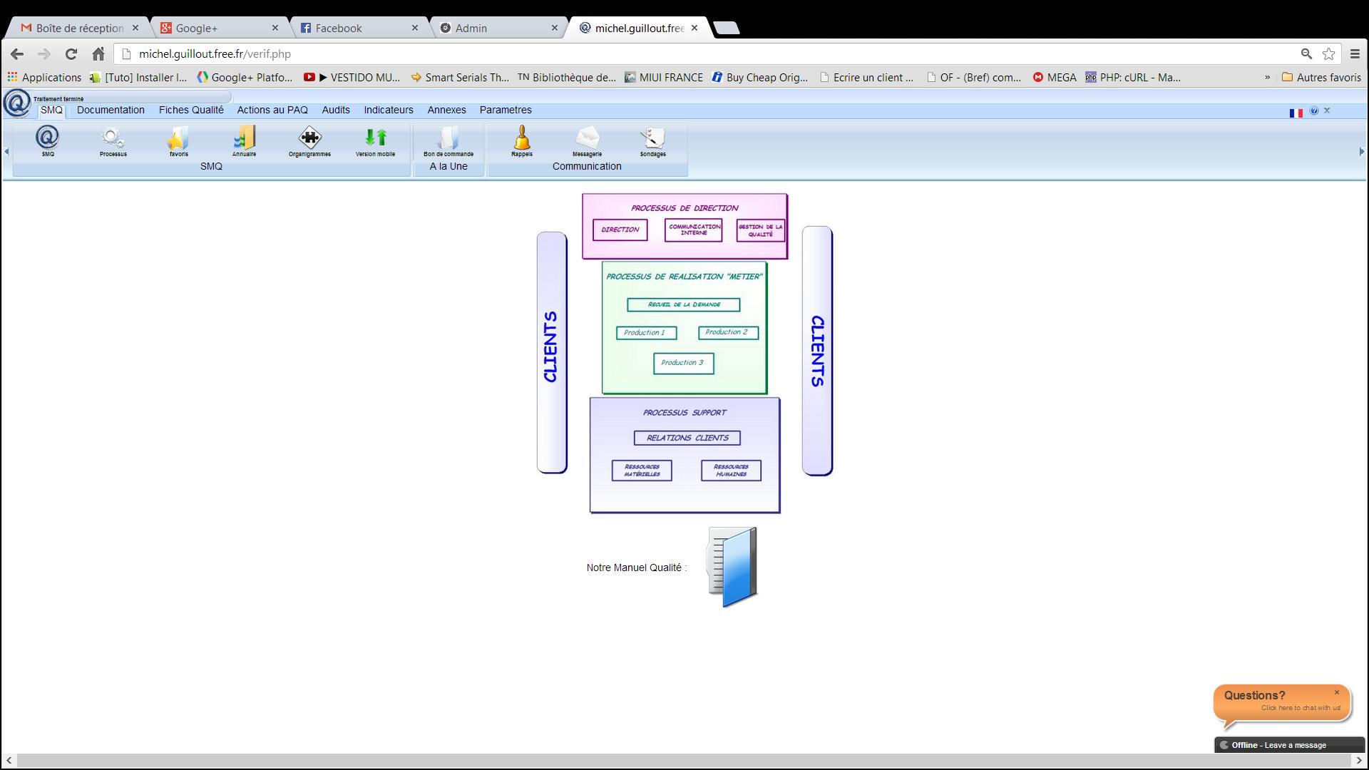 Capture d'écran INTRANET QUALITE ISO 9001