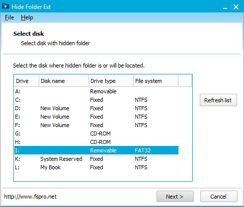 Capture d'écran Hide Folder Ext