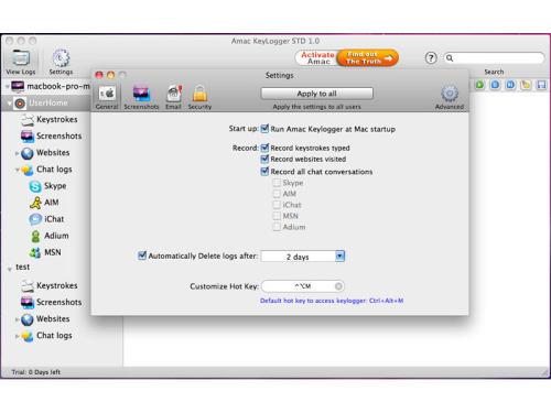 Capture d'écran Amac Keylogger Standard