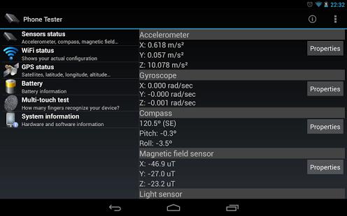 Capture d'écran Phone Tester (sensors, GPS…)