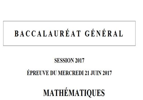 Capture d'écran Bac 2017 Mathématiques – Séries L et ES