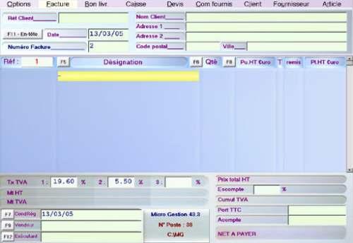 Capture d'écran Micro Gestion (c) Micro Pointe