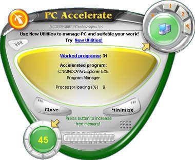 Capture d'écran PC Accelerate