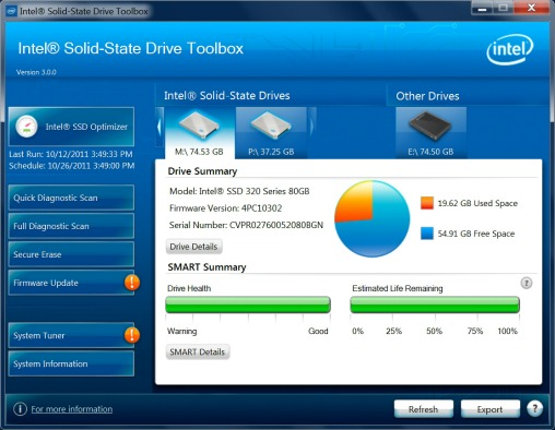 Capture d'écran Intel SSD Toolbox