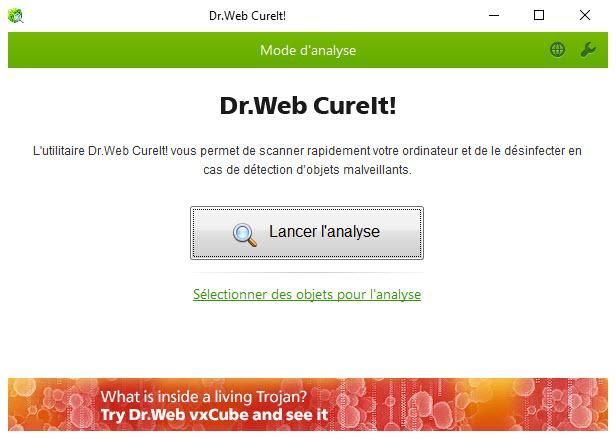 Capture d'écran Dr.Web CureIt!