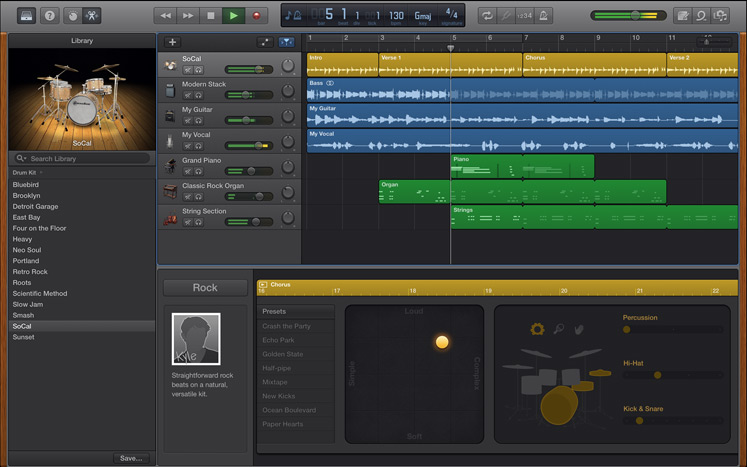 Capture d'écran GarageBand