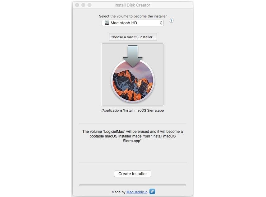 Capture d'écran Install Disk Creator Mac