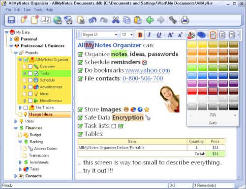 Capture d'écran AllMyNotes Organizer Deluxe Edition