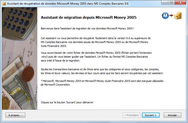 Capture d'écran Microsoft Money vers MS Comptes Bancaires