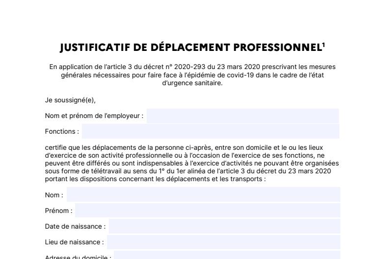 Capture d'écran Attestation employeur de déplacement professionnel