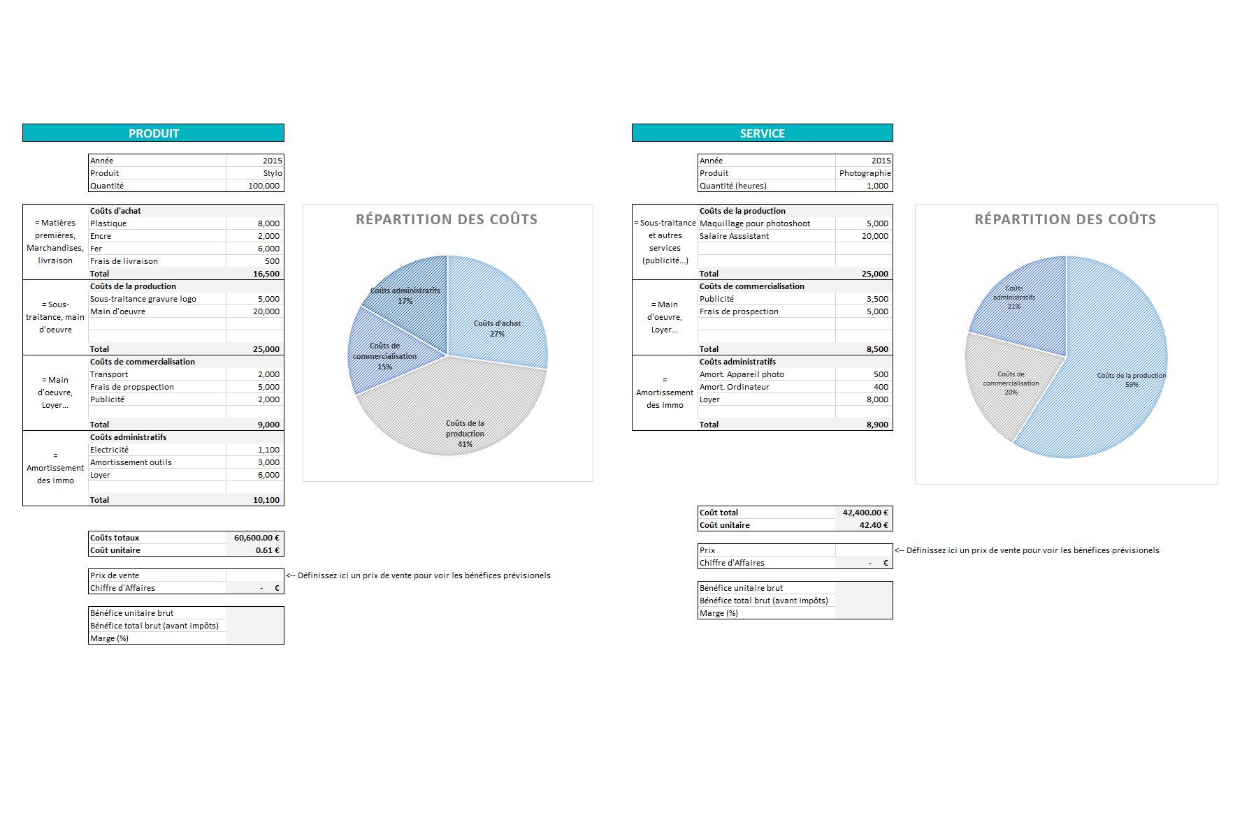 Capture d'écran Fichier Excel de calcul de prix de revient