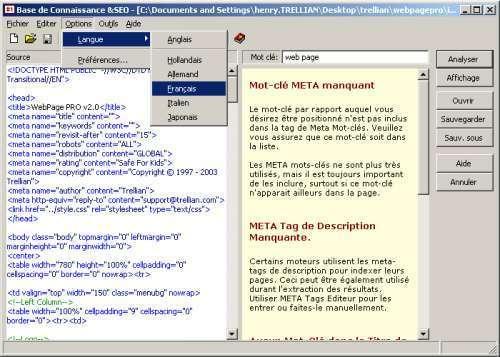 Capture d'écran Trellian SEO Toolkit